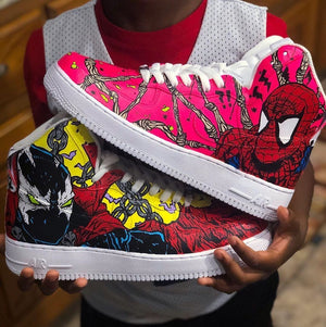 """Spawn and Spider-Man"" Nike Air Force 1 High Custom Shoes Custom Made Nike"