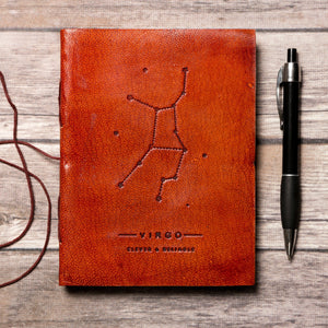 Virgo Zodiac Handmade Leather Journal Custom Made Violet Charlie