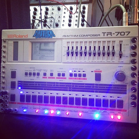 Roland TR-707 Diabolically Modified w/ Blue LED
