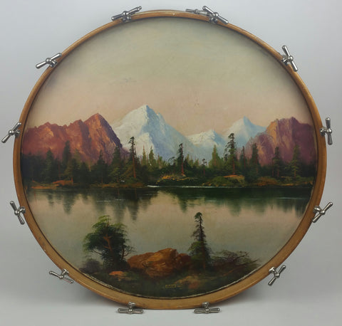 "1928 Vintage 28"" painted-scene Bass Drum"