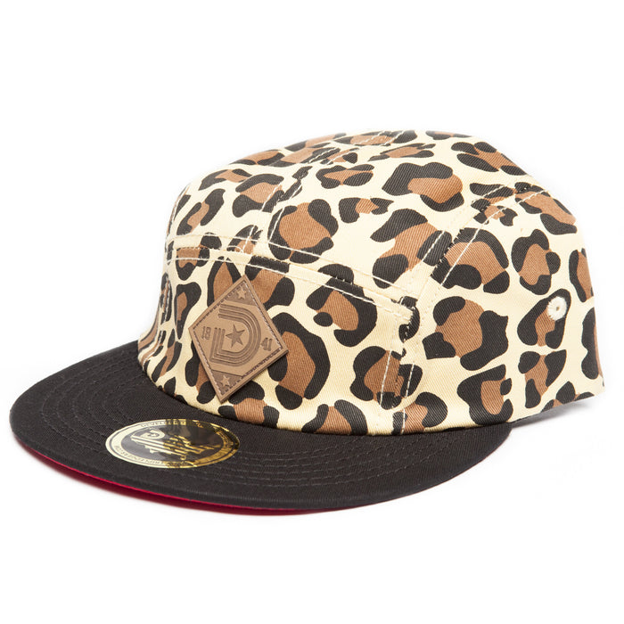 Leopard 5-Panel Strapback Hat in Leopard & Red