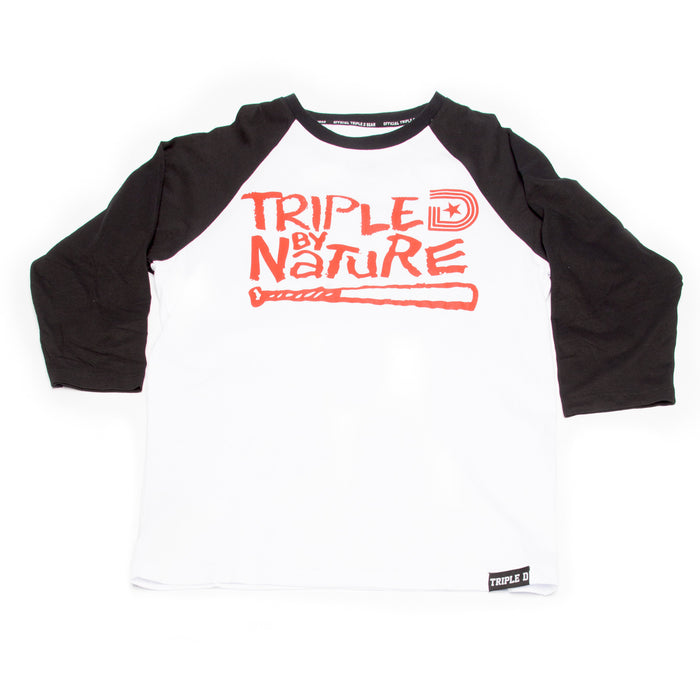 TDG BY NATURE 3/4 SLEEVE SHIRT IN BLACK/RED