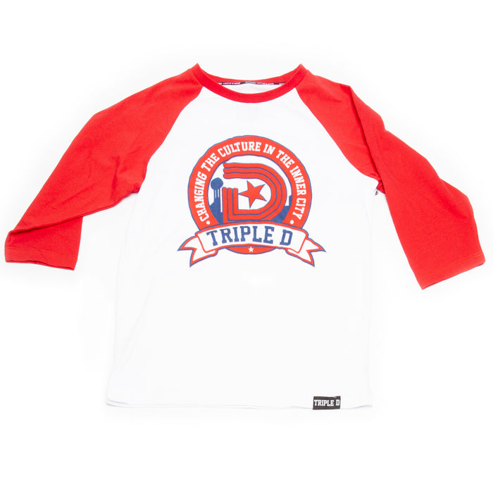 TDG BY STAMP LOGO 3/4 SLEEVE SHIRT IN RED/WHITE