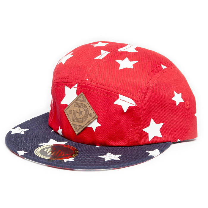 FLAG 5-PANEL STRAPBACK HAT in Red Blue and White