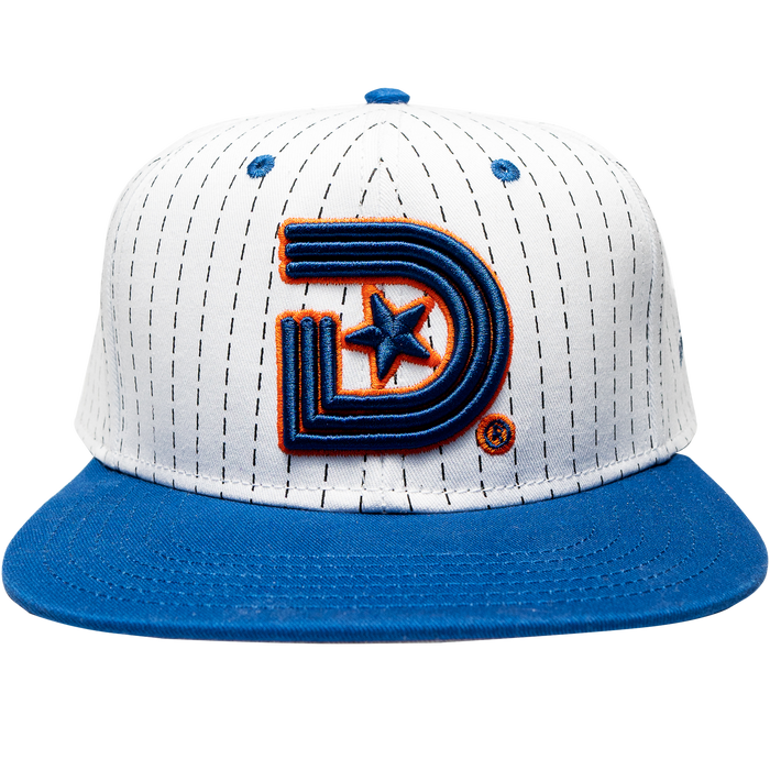 Year of the Light Snapback in White & Navy Stripes with a splash of Orange