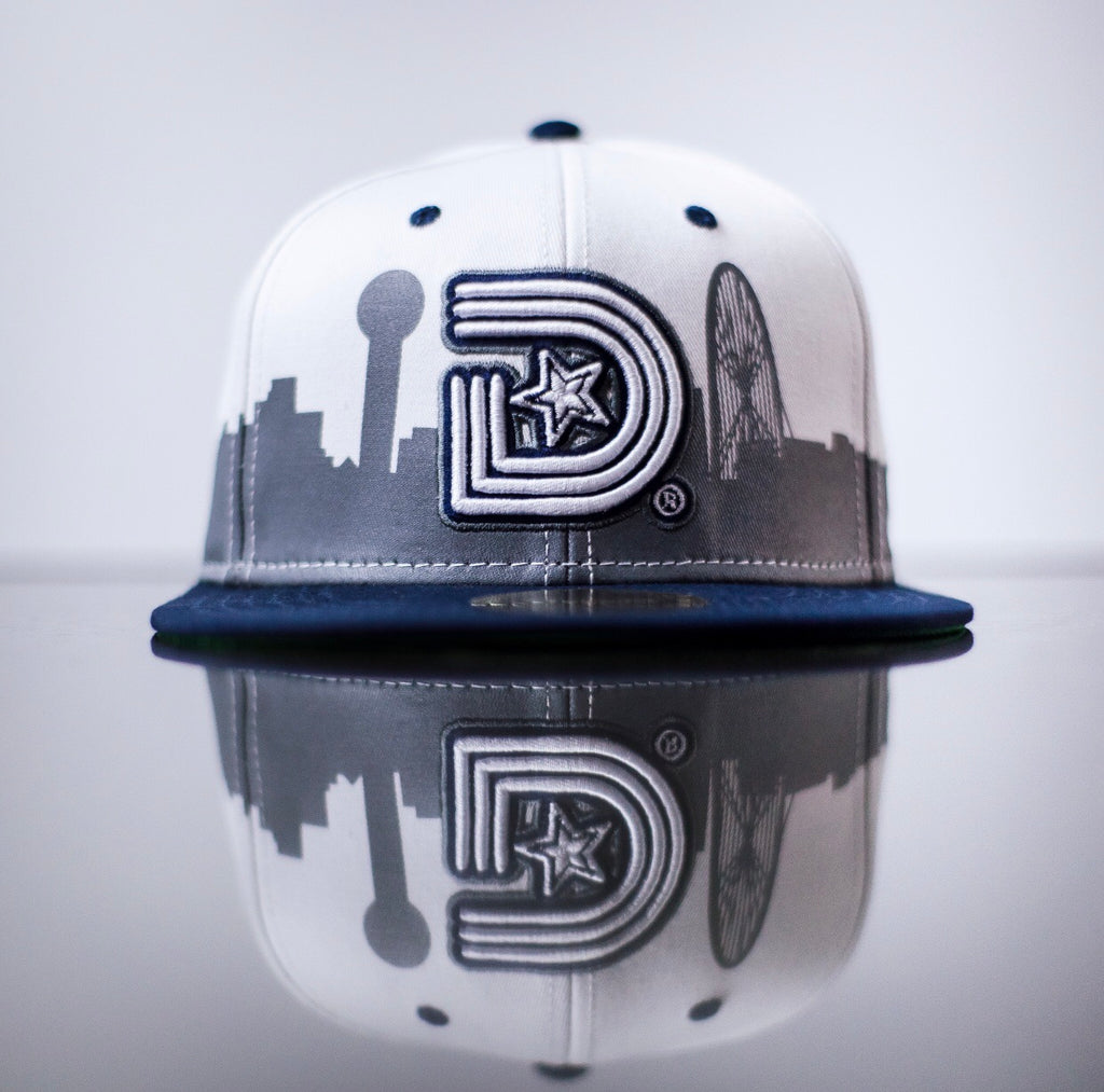 3D Land Snapback in White & Navy - My City Collection