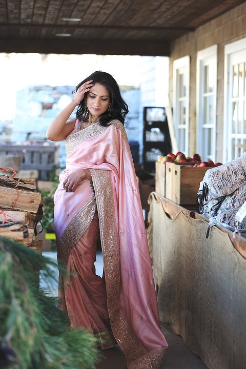 Radiate Feminine Glow in a Powder Pink Embroidered Saree