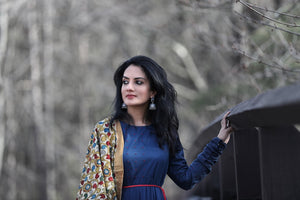 Ethnic Yet Modern - Indo-Western Linen Dress With Hand-painted Kalamkari Dupatta