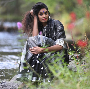 Beauty by the River - Black and White Checker Linen Saree