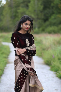 Serenity in the Wild - A Vision of Exquisite Embroidered Designer Sari