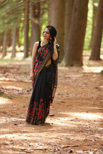 Into the Woods in a Classic Black Linen Saree