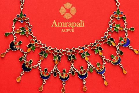 Amrapali silver glass necklace