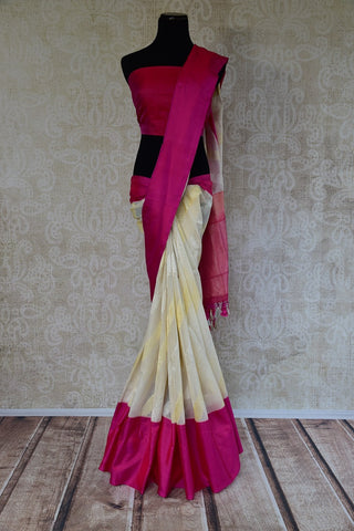 Pure Elegance White and Pink Tissue Linen Banarasi Saree