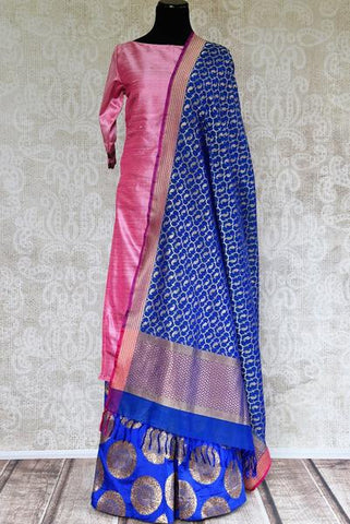 Pink and Blue Raw Silk Banarasi Palazzo Salwar Kameez