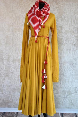 Casual Mustard Cotton Anarkali Kurta