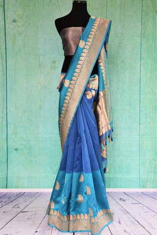 Blue Kora Silk Saree