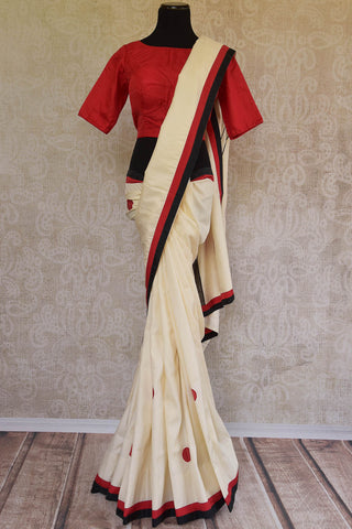 Pure Elegance Off White Silk Applique Sari With Red Blouse