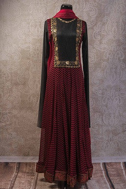 Red and Black Georgette Anarkali Suit