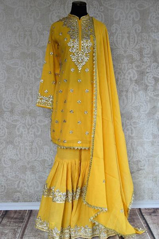 Yellow Pakistani Embroidered Garara Suit