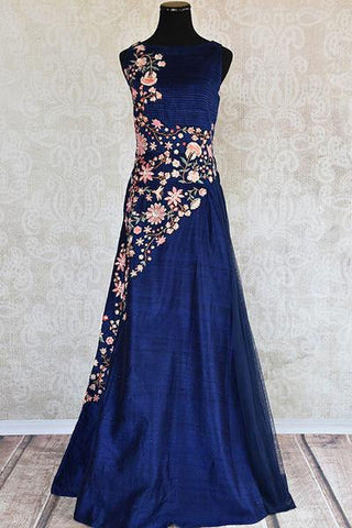 Blue Embroidered Anarkali Gown Dress