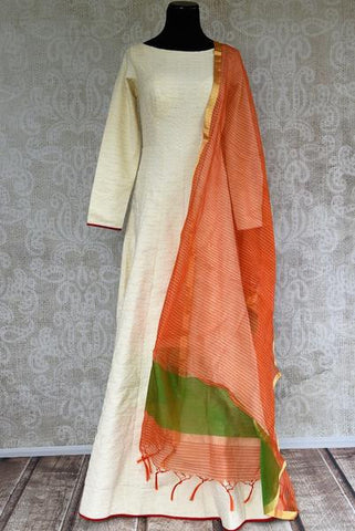 Off White Anarkali Suit with Orange Dupatta For Family Occasions