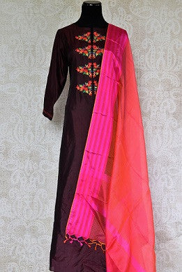 Embroidered Silk Suit with Dupatta