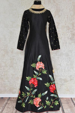 Black Raw Silk Embroidered Anarkali Suit