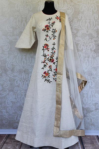 White Embroidered Cotton Anarkali Suit