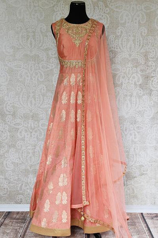 Peach Banarasi Silk Suit