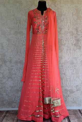 Pink Raw Silk Embroidered Anarkali Suit
