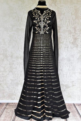 Black Raw Silk Embroidered Double Layered Anarkali Suit