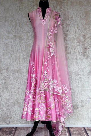 Pink Embroidered Chanderi Silk Anarkali Suit