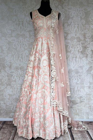 Pink Embroidered Floor Length Anarkali Suit with Dupatta