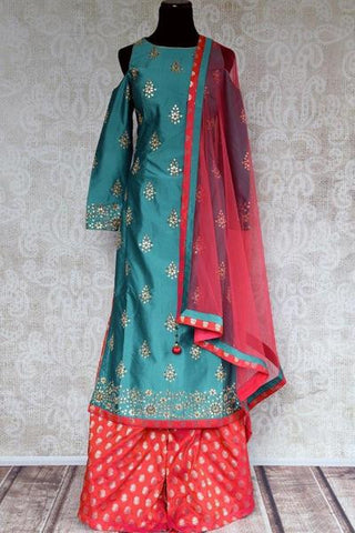 Blue and Red Palazzo Salwar Kameez