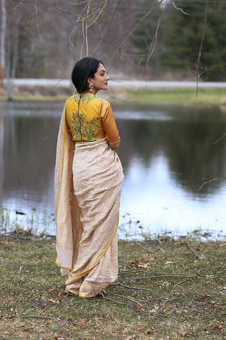 Cream Color Saree with Mustard Blouse