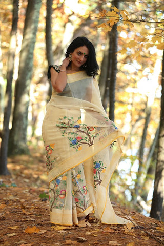 Organza Banarasi With Jamdani Weave Saree, Blouse in Silk With Embroidery Blouse - b