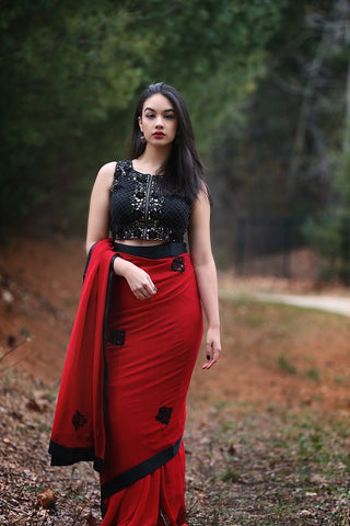 Red and Black Designer Saree