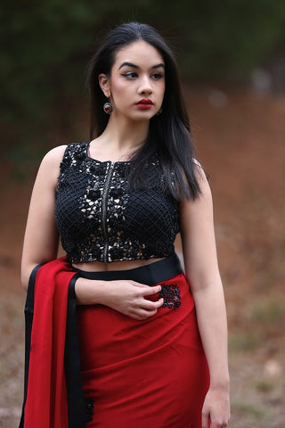 Red and Black Saree with a Designer Blouse