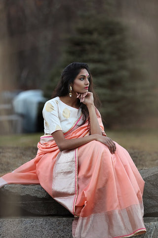 Peach Chanderi Saree with Benarasi Blouse