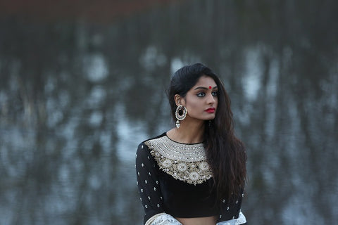 Black Velvet Embroidered Choli