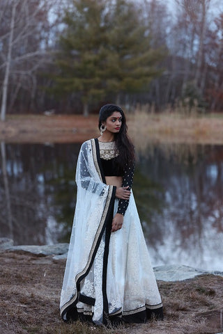 Black and White Designer Lehenga