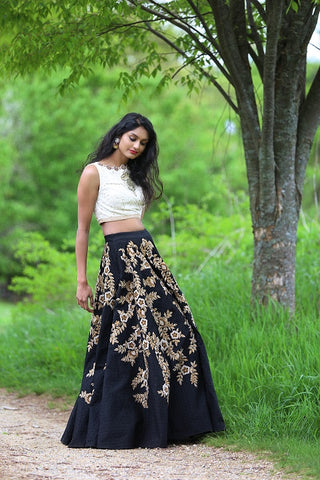 Crop top with Embroidered Skirt