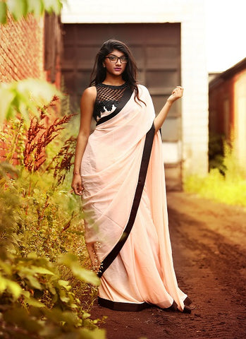Peach Designer Saree
