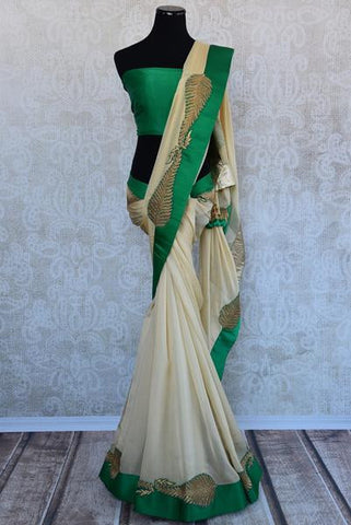 Beige and Green Dabka Work Saree