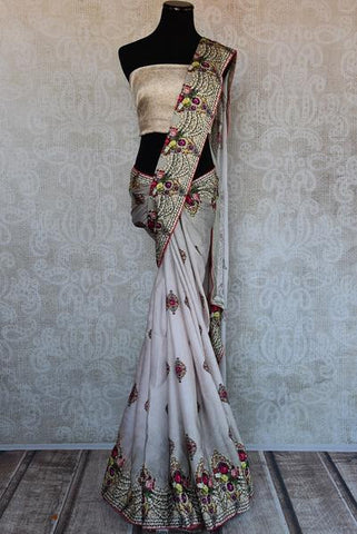 White Digital Print Saree