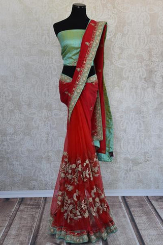 Red Heavy Embroidered Saree