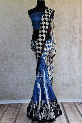 Blue and Black Batik Print Sari