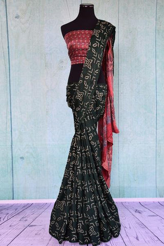 Green Bandhej Saree with Ajrakh Pallu