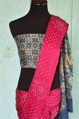 Pink Bandhej Saree with Ajrakh Pallu and Blouse Piece