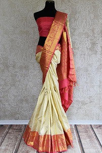 White and Red Kanjeevaram Saree for Durga Puja